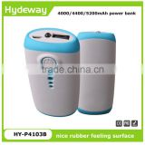 Best selling power bank 4000/4400/5200mAh portable battery charger with rubber feeling surface treatment
