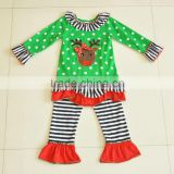 Childrens Christmas wholesale clothes polka dot cotton stripes ruffle pants clothing sets long sleeve fall boutique outfits
