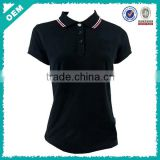 women pure black polo shirt, slim fit black polo shirt for women, lady black polo shirt with three button (lyt080004)