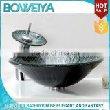 China Sanitary Ware Art Design Round Shaped Counter Top Tempered Glass Bathroom Sink For Hotel
