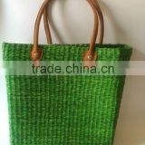 Green seagrass plant beach bag with leather handle made in Vietnam
