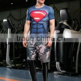 Guangzhou Factory Compressed Sports Gym Running T Shirt/ Superhero T-shirt Avengers Marvel hero Superman Boy T Shirt