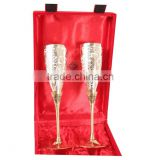 IndianArtVilla Handmade Engraved Silver Plated Brass Premium Goblet Champagne Flutes Wine Glass Set with Gift Packing box