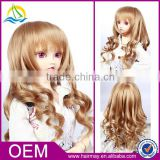 Heat resistant fiber blonde synthetic doll wigs wholesale
