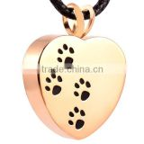 SRP2479 Gold Jewelry Four Dog Paw Print Logo Heart Shape Stainless Steel Cremation Jewelry