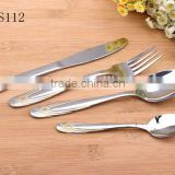 Stainless Steel Cutlery Set Gold-plated Handle Knife Fork Spoon Tea spoon