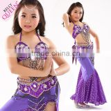 NEWEST Youth Baby Girls Lassock Kids Belly Dance Stage Performance Outfit Bra And Belt