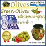 Green Olives with Cayenne Peppers & Laurel, Tunisian Table Olives,Table Green Olives 370 ml Glass Jar