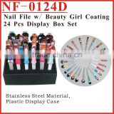 (NF-0124D) Nail File with Beauty Girl Coating 24Pcs in Display