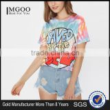 2017 Wholesale T-Shirt Tie Dye Drop Shoulder Rayon Stretchy Soft Tees Short Sleeve Printing Round Neck