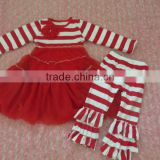 Hot Sale Baby Christmas Clothing Trendy Kids Red Stripe Long Sleeves Chiffon Dress with Ruffled Pant Outfit Set for Little Girls