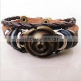 Fashion PU Leather Bracelets For Unisex Braided Fine Jewelry Cross Bangle