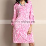 Latest Women Casual Dress With Light Pink Floral Bell-Sleeve Shift Dress Women Floral Dress Women Clothing GD90426-37