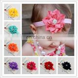 NEW grosgrain ribbon Baby Headbands Boutique flower +girls elastic hair bands+pearl hair accessories for kids