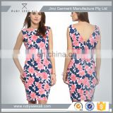 OEM women floral printing sundress in satin fabric for casual clubbing occasion online Alibaba new products 2016