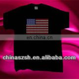 USA flag design cool flashing EL sound activated T-shirt
