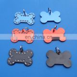 custom colorful bone shaped metal dog tag id name tag pet tag with stone