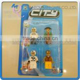 Mini Qute 4pcs/lot intellect boy collection models city engineer action figure plastic building block educational toy NO.25792B