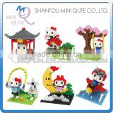 Mini Qute BOB 6 styles kawaii 3D hello kitty moon plastic kids figures diamond building blocks brick model educational toy