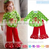 2015 Latest Fashion Christmas Tree Pajamas Ruffle Pants Layette Baby Gift Set Wholesale Children's Boutique Outfits MY-IA0011