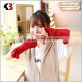 2016 New design long stretch satin gloves hand warmer fashion gloves red fashion knitting gloves