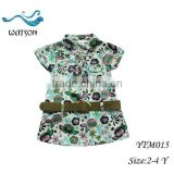 Girls Flower Printed Cotton With Belt Long Shirts