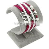 Newest Wholesale DIY Fashion Jewelry PT2193 Heart Love 8 Bar Charms Cord Braided Leather Bracelet