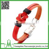 Orange Genuine Leather Rope Cuff Bracelet Leather Wristband Alloy Men's Women's Bracelet