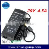 ac dc laptop charger factory price oem switching laptop adapter for Lenovo 20v 4.5a square pin yellow