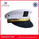 wholesale white embroidery captain cap sailor hat with navy blue brim                                                                         Quality Choice