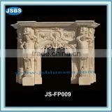 marble interior fireplace surround with male carving