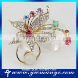 Promotion Fashion Vintage Brooch Crystal Rhinestone Purple & Blue Flower Bride Brooch Pins Women wedding decoration B0012