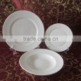 18pcs cheap white new bone china embossed dinner set without MOQ,ceramic melamine dinner set