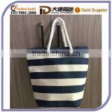 Custom Canvas Durable Shopping Bag Cheap Wholesale Stripe Promotional Cotton Tote Handbag Beach Bag