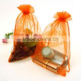 orange organza gift bags with logo ribbon jewellery storage pouches promotion drawstring security recyclable for wedding party