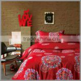 reactive printed bedding sets /red base with several large floral print/panel screen printing/duvet cover and pillow covers