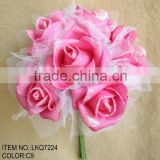 bridesmaids artificial flowers bouquets with glitters covered for wedding decorations