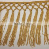 yellow gold hand knotted braid black rayon fringe tassel trimming lace trim