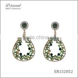 Wholesale Jewelry New Designs Ladies Ethnic Resin Earrings Teardrop Gold/Silver Plating Dangle Earrings