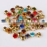 Glass Crystal Stone Claw Chain Colorful Beauty Rhinestone Sewing On Claw Cup Chain Crystal Chain For Garment