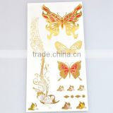 Wholesale custom personal care body art golden glitter flash gold temporary tattoos sticker