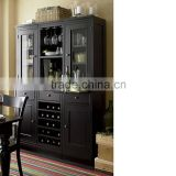 Classic Solid Wood Wine Cabinet in Black