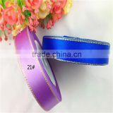 wholesale Variety Colours Gold line polyester single face Satin Ribbons Metallic Ribbon 25yds/roll