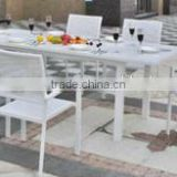Outdoor garden furniture aluminum extension table aluminum stackable chair