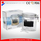 Hot selling sealed memo glass storage jar with metal clip lid top 700ml