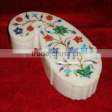 Marble Decorative Flower Jewellery Box with Inlay Work, Hand Carved Marble Decorative Box Indian Art Souvenir Gift Box