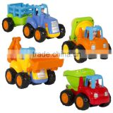 Push and Go Friction Powered Car Toys,Tractor, Bull Dozer truck, Cement Mixer, Dump truck from ICTC Factory