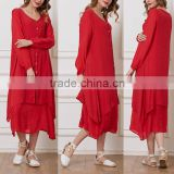 ladies beach dresses cotton-blend Red Button-Up Handkerchief short front long back dress