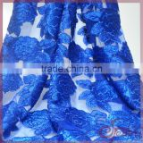 2016 blue lace guipure glitter fabric for evening fancy dress with organza lace with sequins