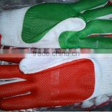 2012 hot sales nitrile coated cotton gloves/anti-oil cotton glove /String Knit Gloves with Dots/yellow,red,blue,black